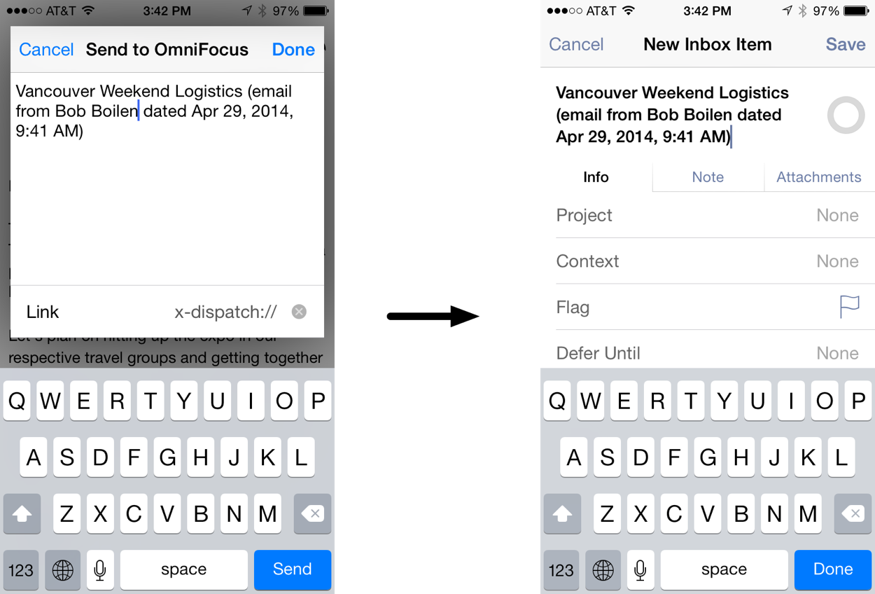 Screenshot showing text in Dispatch and the same text in OmniFocus as a new Inbox item
