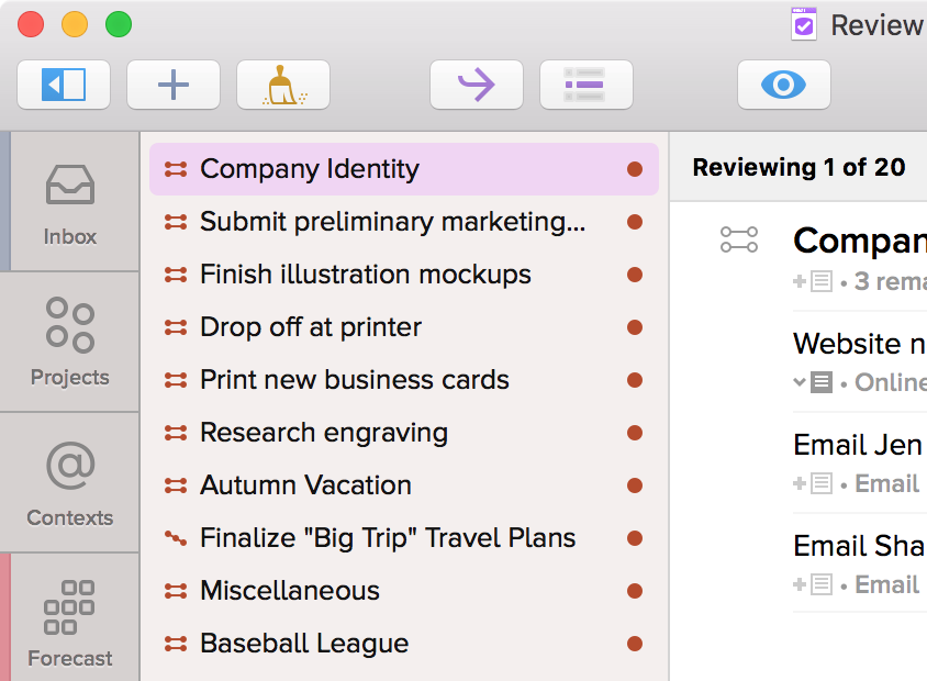 The Review Sidebar With Unreviewed Projects