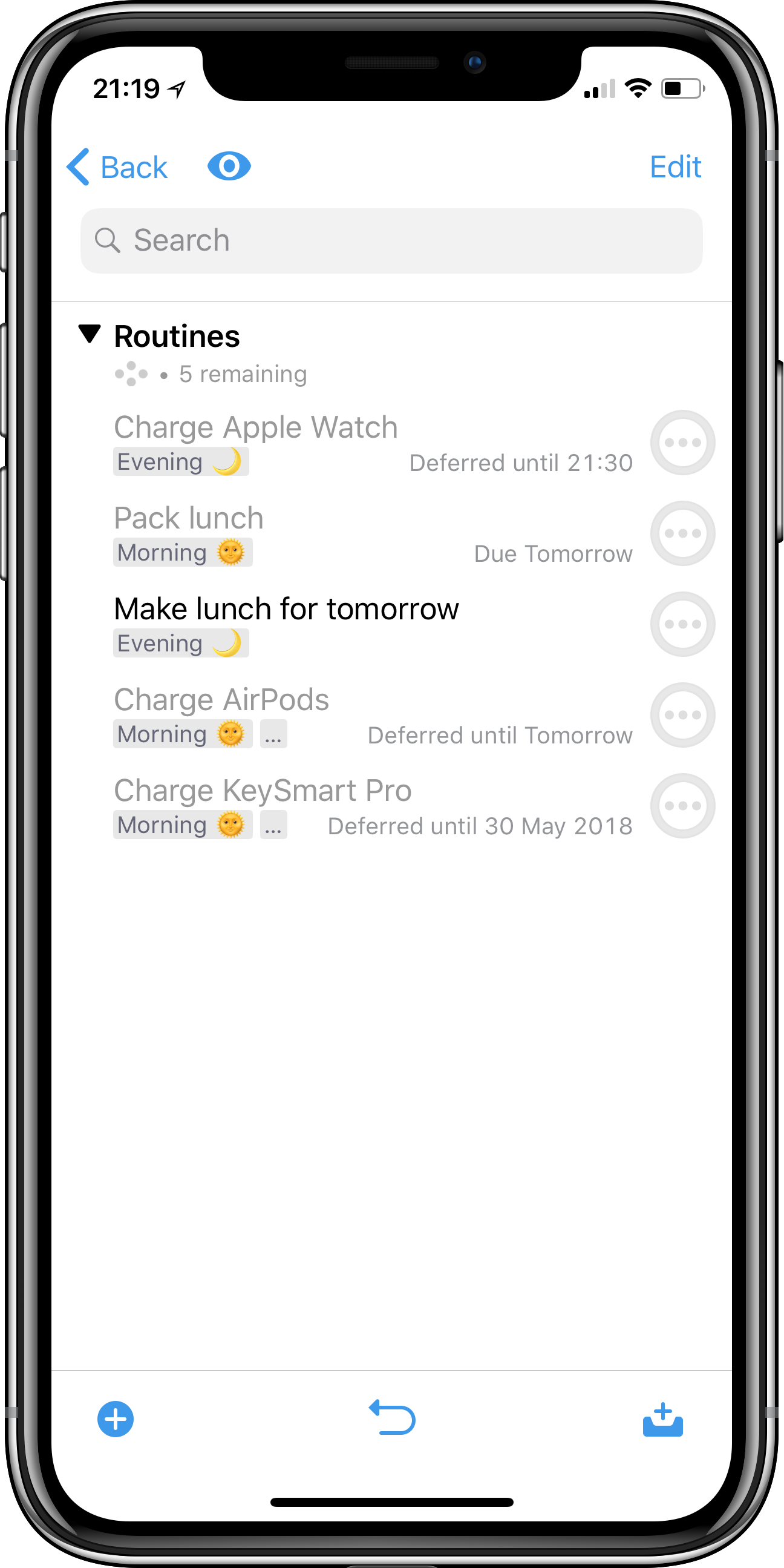 OmniFocus screenshot showing Rose's Routines project with several tasks such as Charge Apple Watch, Pack Lunch, and so on