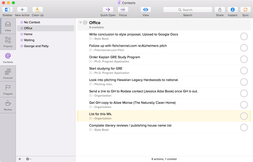 Screenshot of OmniFocus for Mac showing Contexts, with Office selected