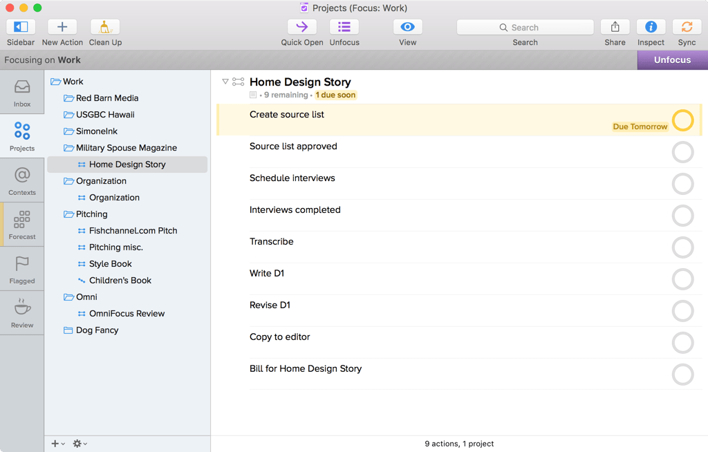 Screenshot of OmniFocus for Mac showing Projects, focused on a Work project, with Home Design Story selected