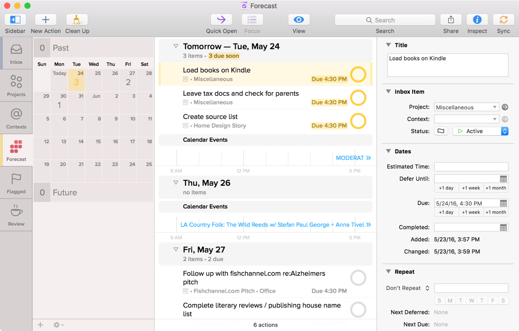 Screenshot of OmniFocus for Mac showing Forecast, showing tomorrow and subsequent days