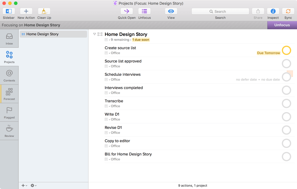 Screenshot of OmniFocus for Mac showing Projects, while focused on the Home Design Story project