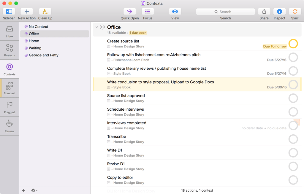 Screenshot of OmniFocus for Mac showing Contexts, with the Office context selected
