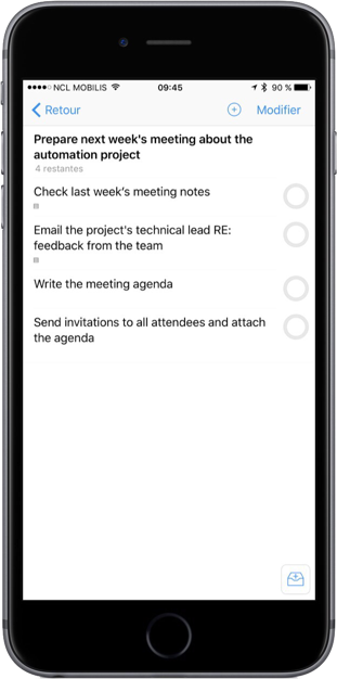 OmniFocus screenshot showing a simple project with five items